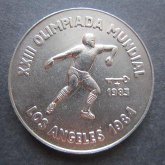 Куба 1 песо 1983г. Unc Олимпиада Лос-Анжелес