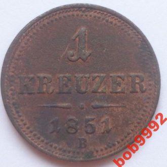 1  крейцер  1851 В г