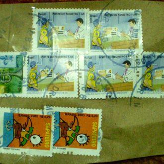 Марки Бразилии на конверте -