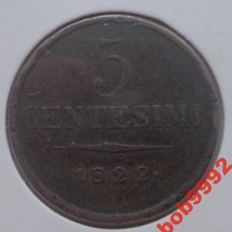 Королевство Ломбардия - Венеция 5 чентезимо 1822 г