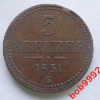 3  крейцера  1851  G  г