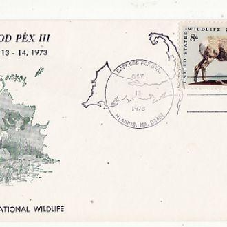 Конверт. Фауна США 1973г