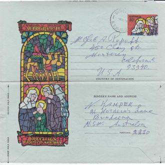 Австралия 1978 РОЖДЕСТВО ПРАЗДНИК ХРИСТИАНСТВО ФАУНА МЛЕКОПИТАЮЩИЕ ЖИВОТНЫЕ ВЕРБЛЮДЫ АГ ОМ