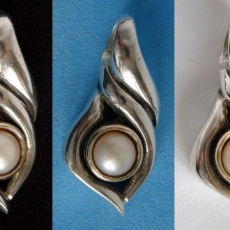Антикварный кулон с жемчужиной серебро 925 Italy