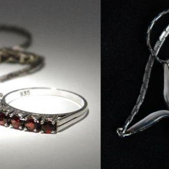 Гарнитур: колье и кольцо, серебро, Germany