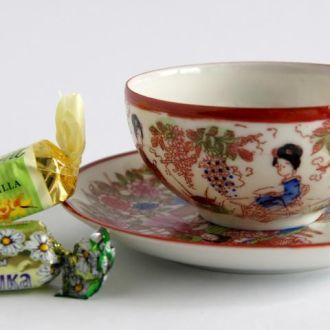 Чашка блюдце Гейша фарфор литофания Kutani Japan 1