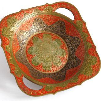 Антикварная ваза фруктовница латунь эмаль India
