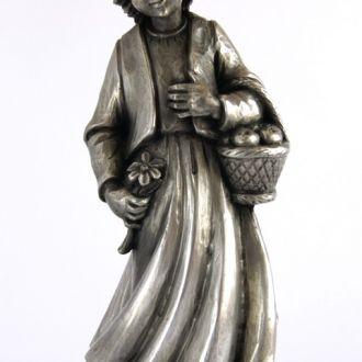 Статуэтка Девушка с корзинкой олово Germany