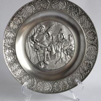 Оловянная тарелка панно Ян Стен 26 см Germany