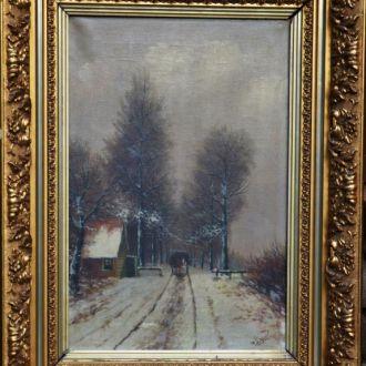 старая картина масло холст рама Louis Apol Зима