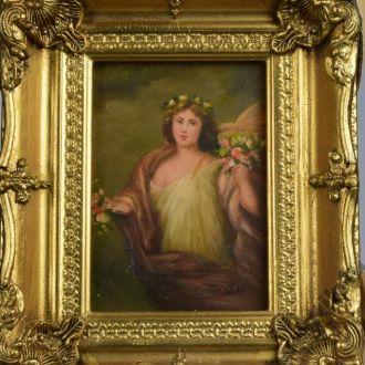 картина портрет масло дерево рама Англия