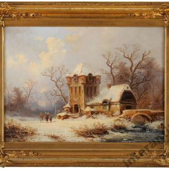 картина оригинал 1864 Brgner Clestin холст масло