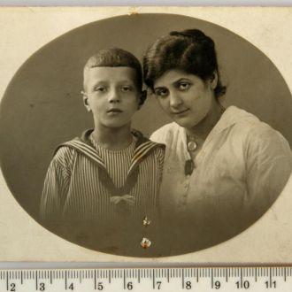 Старинное студийное фото Мама и сын 1910е Германия