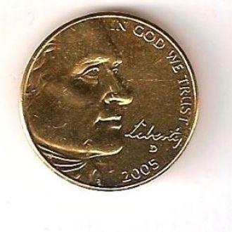 Позолоченная 5 центов OCEAN IN VIEW 2005 США