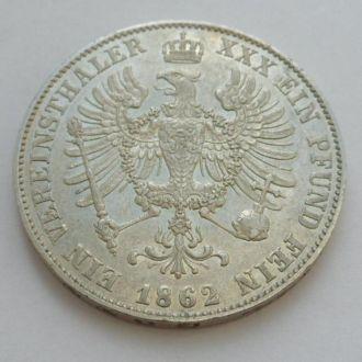 Германия Пруссия 1 талер 1862 г UNC