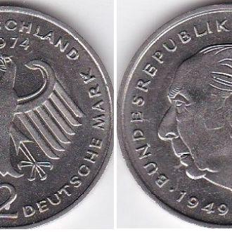 Germany Германия ФРГ- 2 Mark 1974-C UNC Хеус Javir