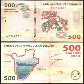 Burundi / Бурунди - 500 Francs 2015 - UNC Миралот