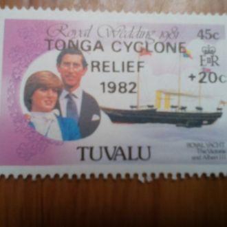 Марка Тувалу негашеная Свадьба 1982 год