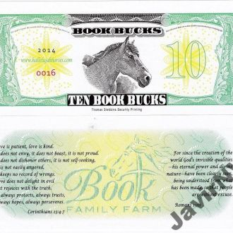USA  США - private money 10 Book Bucks 2014 UNC