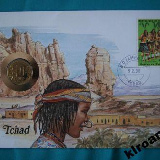 Центральная Африка 10 франков 1983 г UNC + конверт