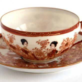 Чашка и блюдце Гейша №6 фарфор Kutani Japan