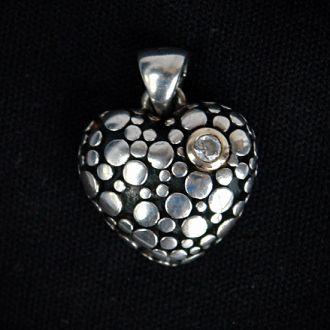 Подвеска Сердечко с цирконом серебро 925 Austria