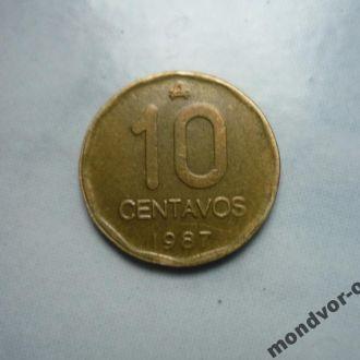 Аргентина 10 сентаво 1987
