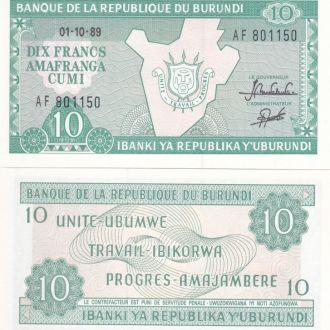 Burundi Бурунди - 10 Francs 1989 UNC JavirNV