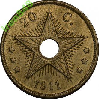 Бельгийское Конго 20 Centimes 1911