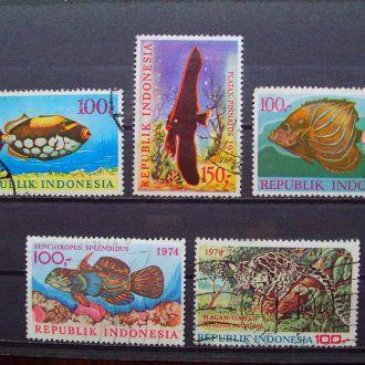 Индонезия.1972/78гг. Морская фауна. КЦ 20,00 EUR!