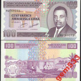 БУРУНДИ 100 франков 2011г. UNC