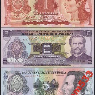 ГОНДУРАС (1 - 2 - 5 лемпир) набор банкнот  UNC