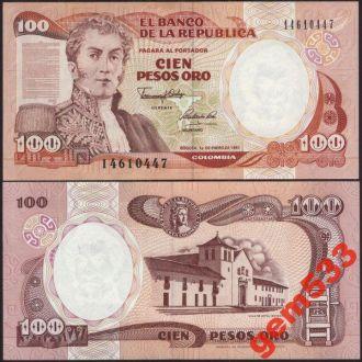 КОЛУМБИЯ 100 песо 1991г. UNC