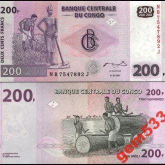 КОНГО 200 франков 2007г. UNC