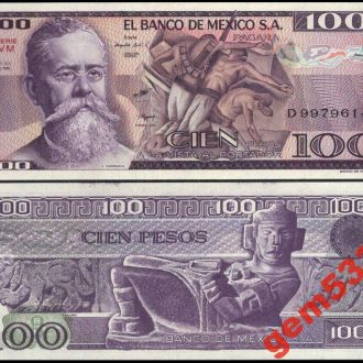 МЕКСИКА 100 ПЕСО  1982г.   серия  VM UNC
