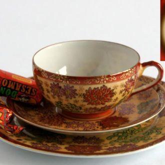Чашка блюдце тарелка Гейша Kiku no hana литофания