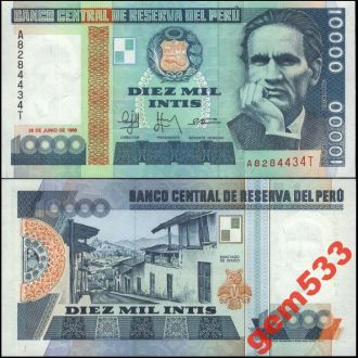 ПЕРУ 10000 инти 1988г. UNC