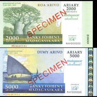 Madagasca Мадагаскар 2000 5000 Francs 2007 образцы