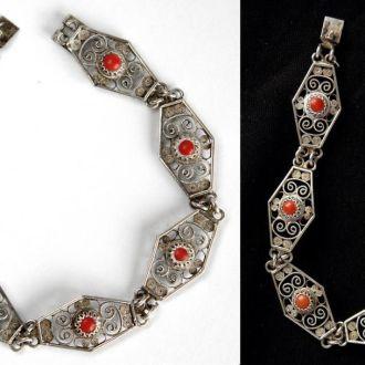 Антикварный браслет серебро 800 пр кораллы Germany