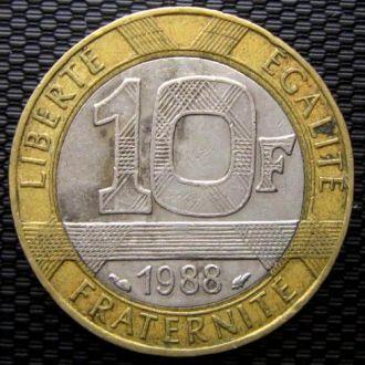 Франция 10 франков 1988 год