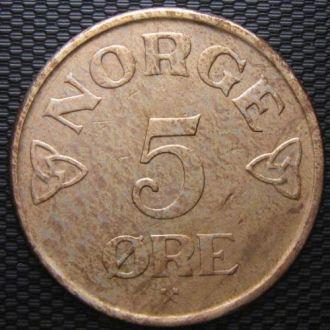 Норвегия 5 эре 1956 год