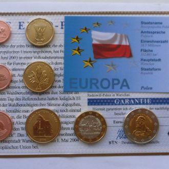Набор пробные евро монеты Польша проба 2006 г