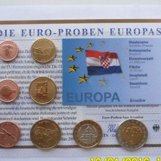Набор пробные евро монеты Хорватия проба 2006 г