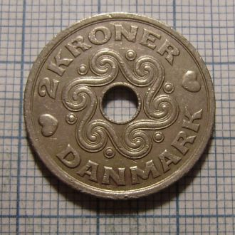 Дания, 2 кроны 1992 г