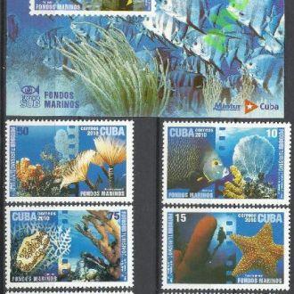 Куба 2010 фауна морская 6м.+бл.**