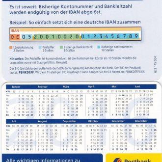 Germany Германия  Календарь Postbank 2016 JavirNV