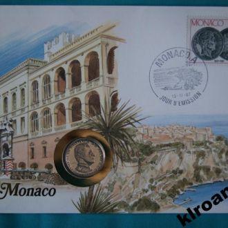 ЕКСКЛЮЗИВ !! Монако 1 франк 1986 г UNC + конверт