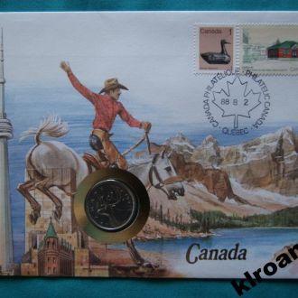 Канада 25 центов 1987 г UNC + конверт