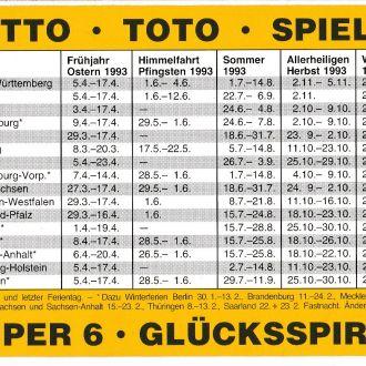 Календарик 1993 Германия, Лотерея