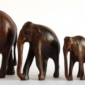 Статуэтки Слоны, 4  штуки, дерево, резьба, Камерун